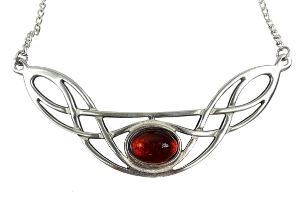 Cornish Pewter Necklace with Real Amber
