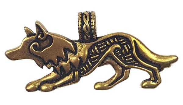 Bronze Celtic Wolf Pendant