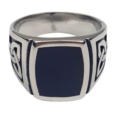 Black Onyx Stainless Steel Triskle Ring