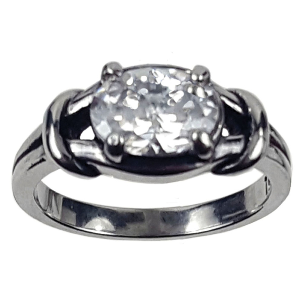 CZ Oval Love Knot Ring