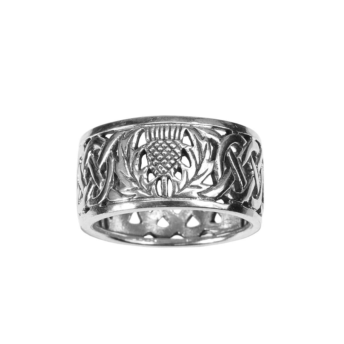Elegant Sterling Silver Ring With Celtic Thistle Knot Design