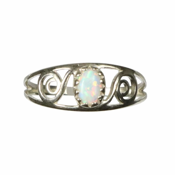 Opal Spiral Sterling Silver Ring