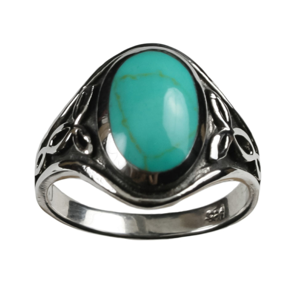 Turqouis Celtic Triskle Ring