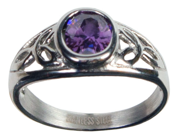 Stainless Steel Amethyst CZ Triskle Ring
