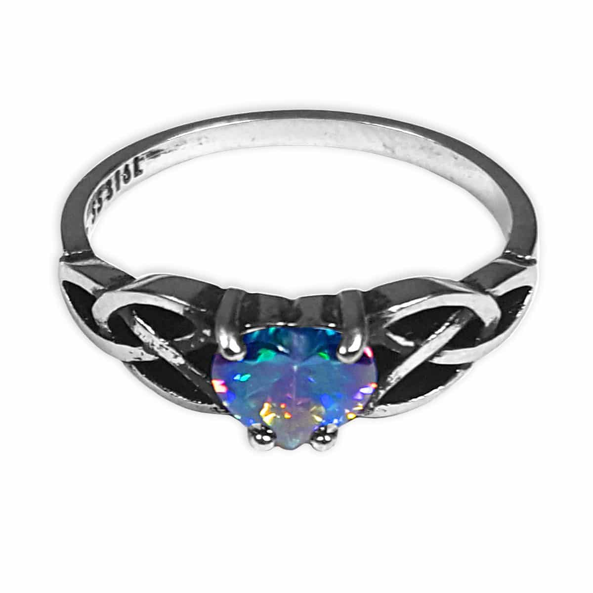 Entwined Celtic Knot Ring With Multi Color Heart Crystal