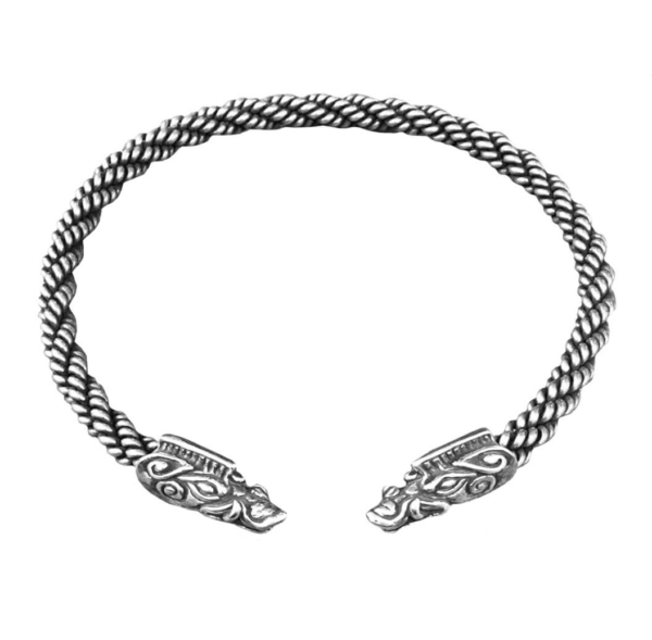 Boar Torc Heavy Braid Silver