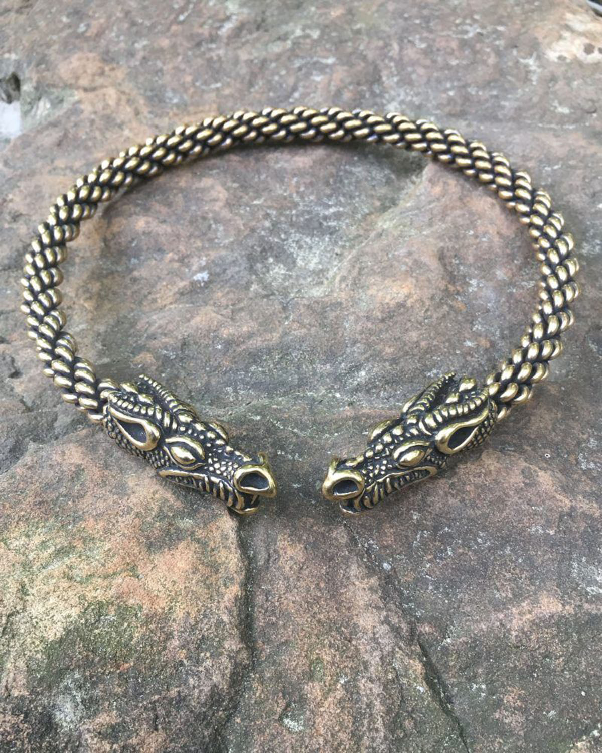 Celtic stylized dragon heads golden torc anabol by british dispensary 10mg x 500 tablets