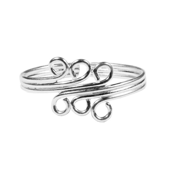 Sterling Wilver Waves Toe Ring