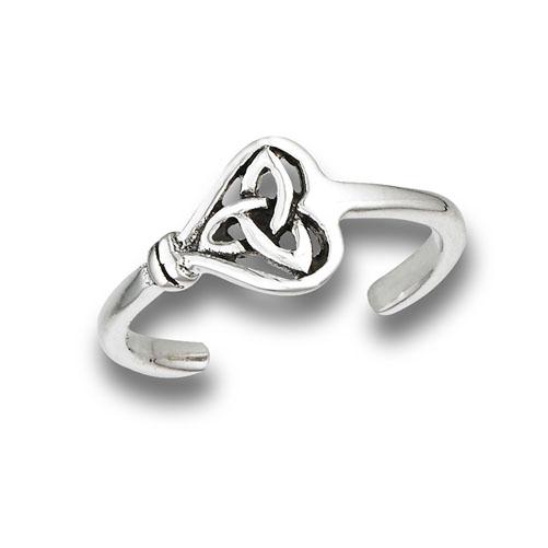 Triskle Heart Sterling SilverT oe Ring