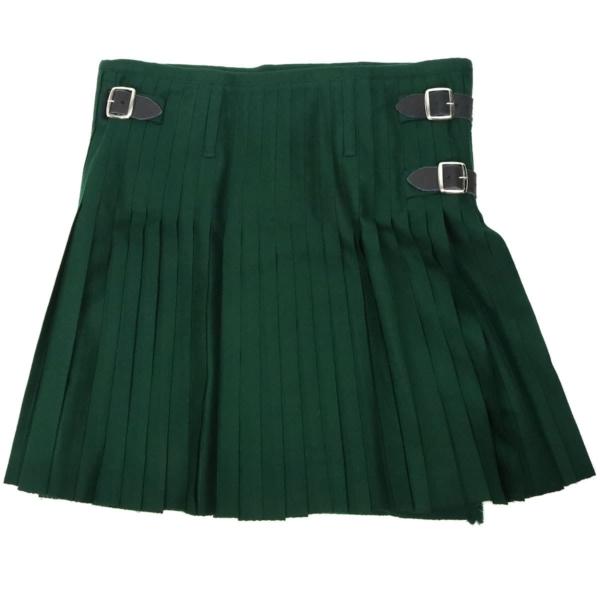 Solid Green Quality Wool Blend Kilt back