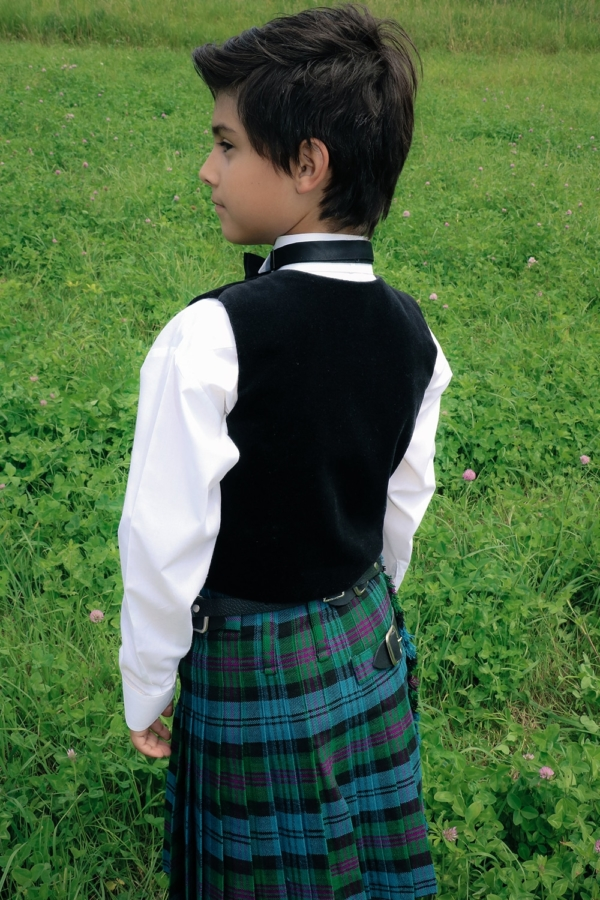 Young Boy showing his pleats in our Good Basic Kilt for Kids