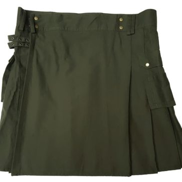 Olive Green Canvas Kilt