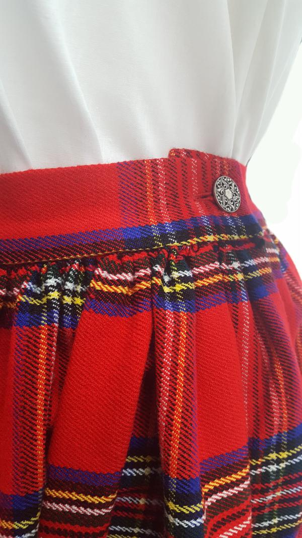 tewart Royal Homespun Gathered Skirt Button