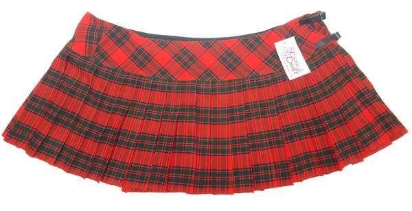 LKMHS-IS-1810 Robertson Red Homespun Kilted Mini Skirt