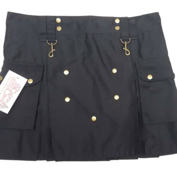 LKWIL-IS-1806 Ladies Wilderness Black Mini Kilt - 38W 17L