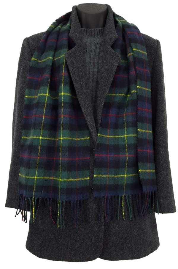 Farquharson Tartan Lambswool Scarf on a mannequin