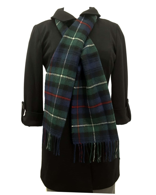 MacKenzie tartan lambswool scarf on a mannequin
