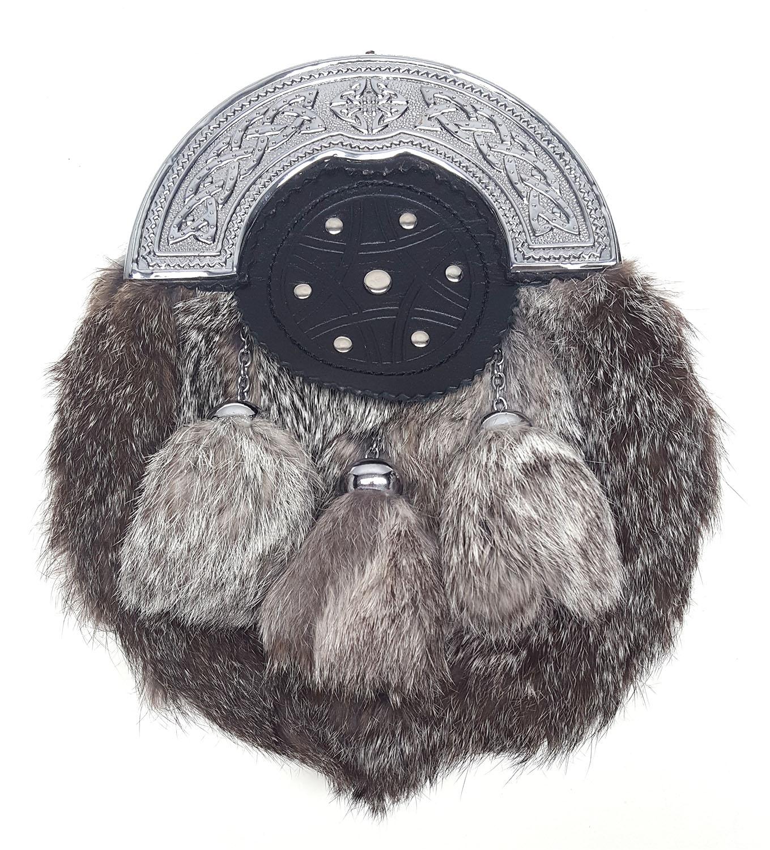 SEF10-CL-1803 Grey Rabbit Fur Sporran