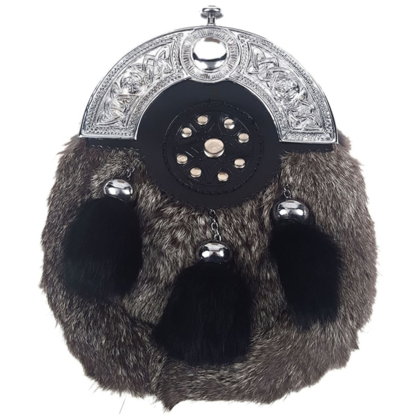 rey Rabbit Black Tassels Fur Sporran