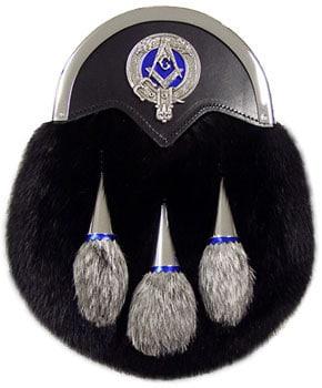 Deluxe Black Muskrat Masonic Dress Sporran