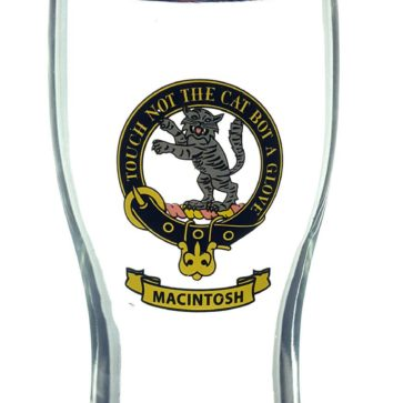 STCBG-CL-1781 MacIntosh Clan Crest Tartan Pub Glass