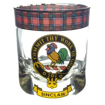 STCWG-CL-1782 Sinclair Clan Crest Tartan Whisky Glass