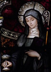 Saint Brigid in a Stained-Glass Window