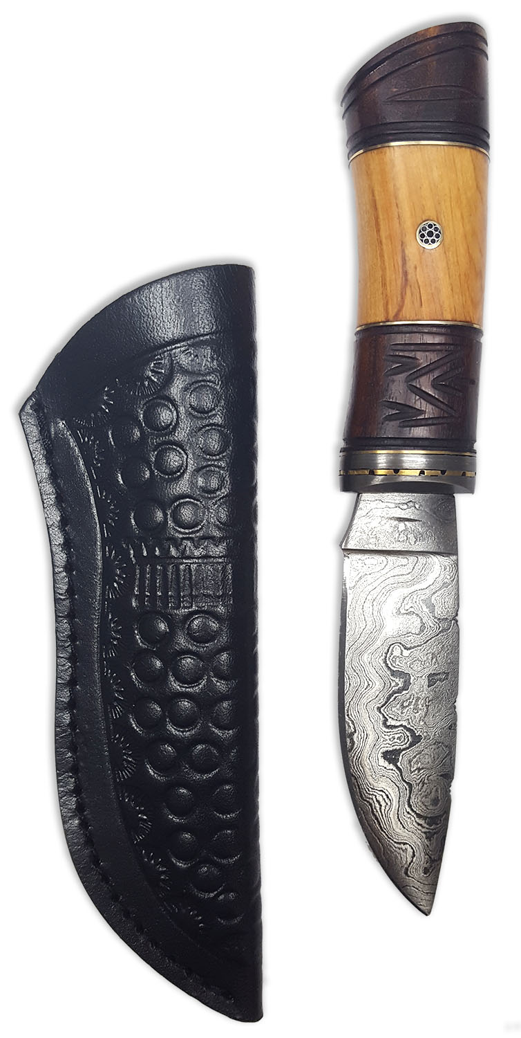 Damascus Sgian Achlais with Rosewood and Olivewood Grip