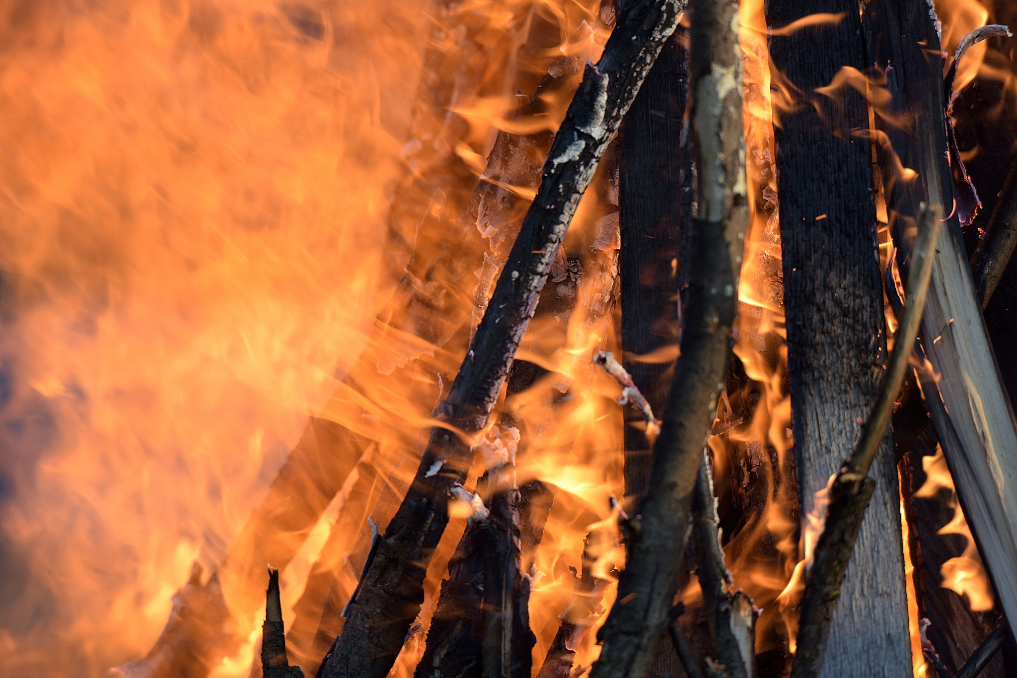 A closeup of a bonfire to celebrate Beltane.