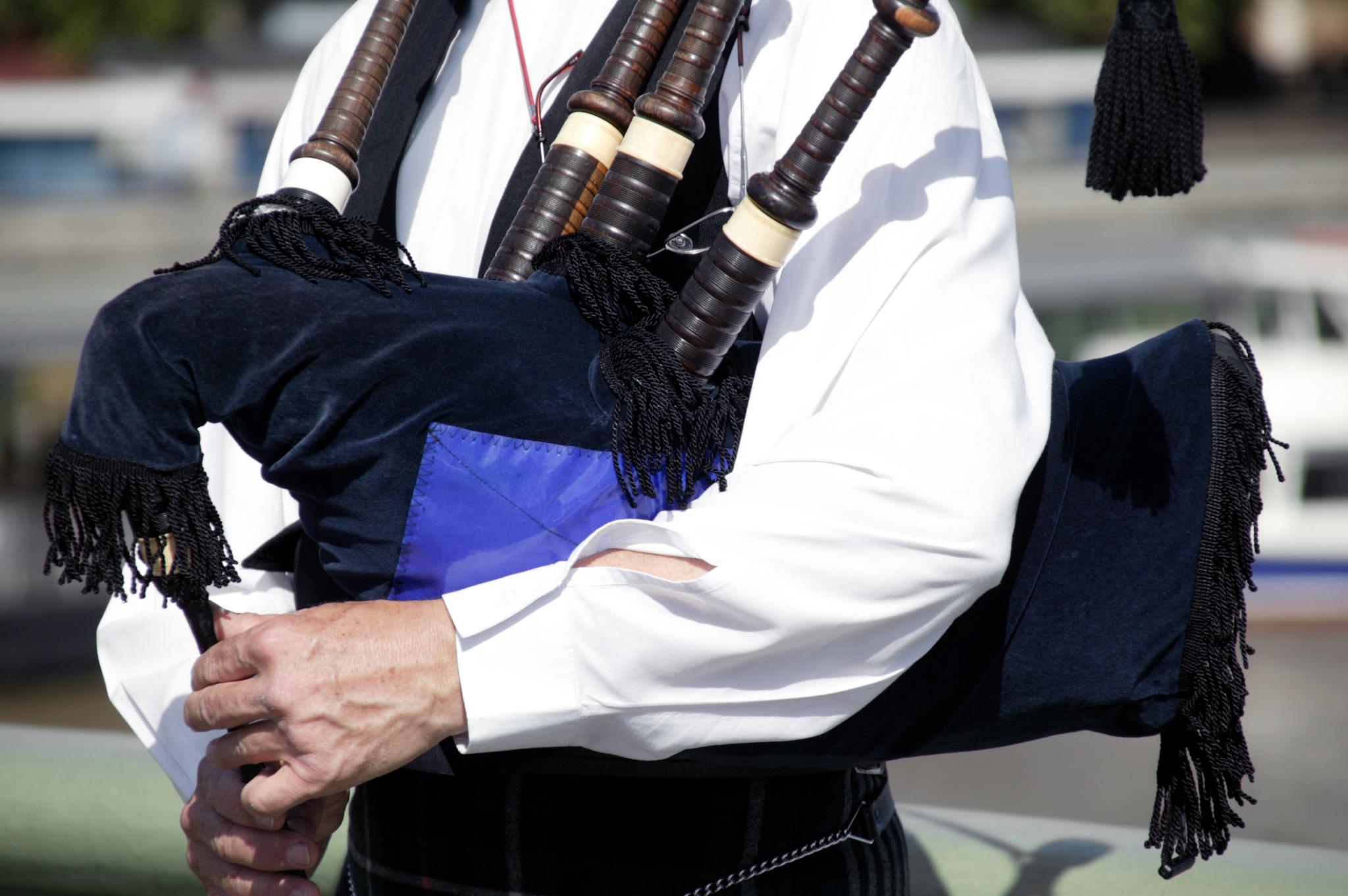 Piper playing traditional Scottish / Irish bagpipes