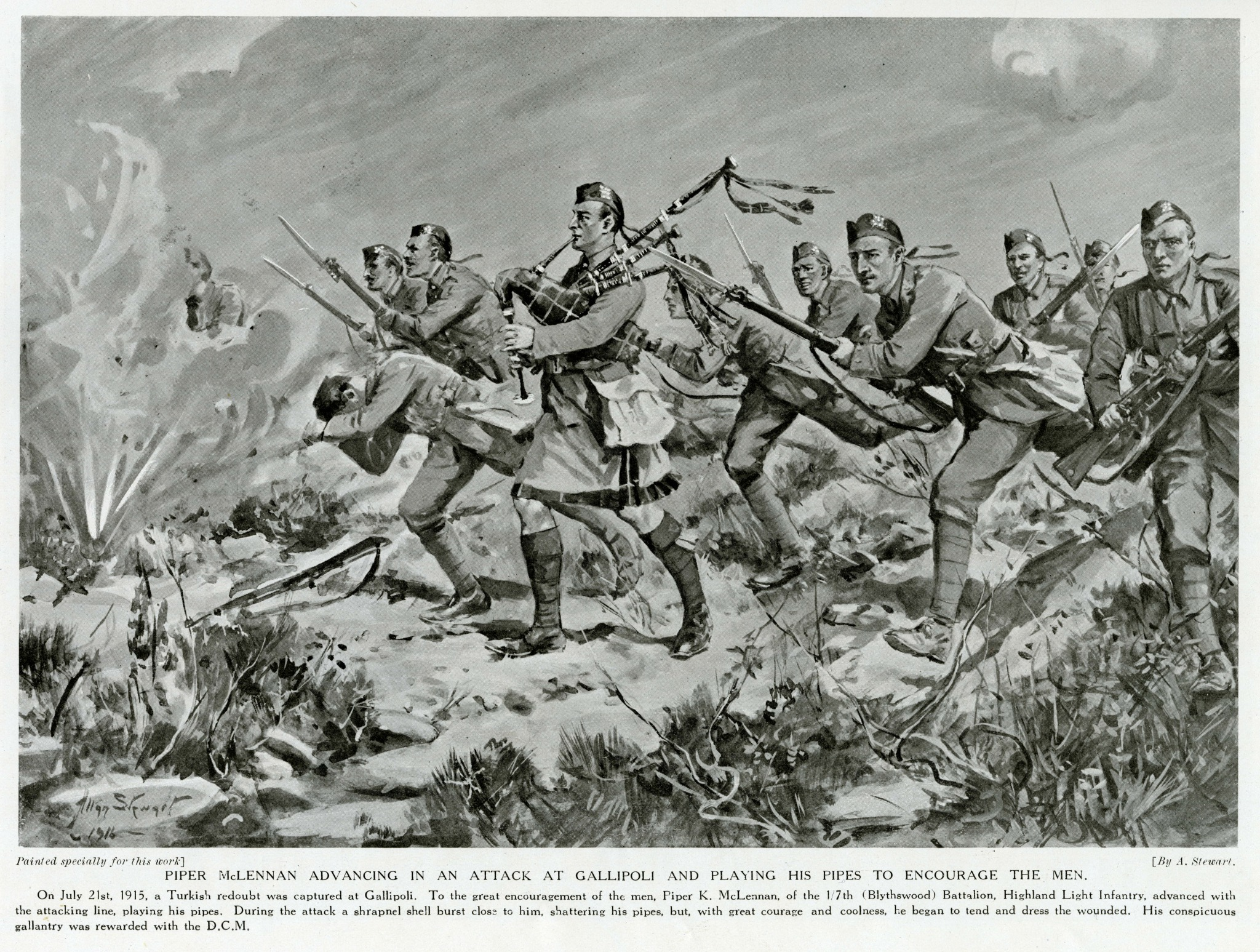 An illustration of the prigins of bagpipes being played during World War One