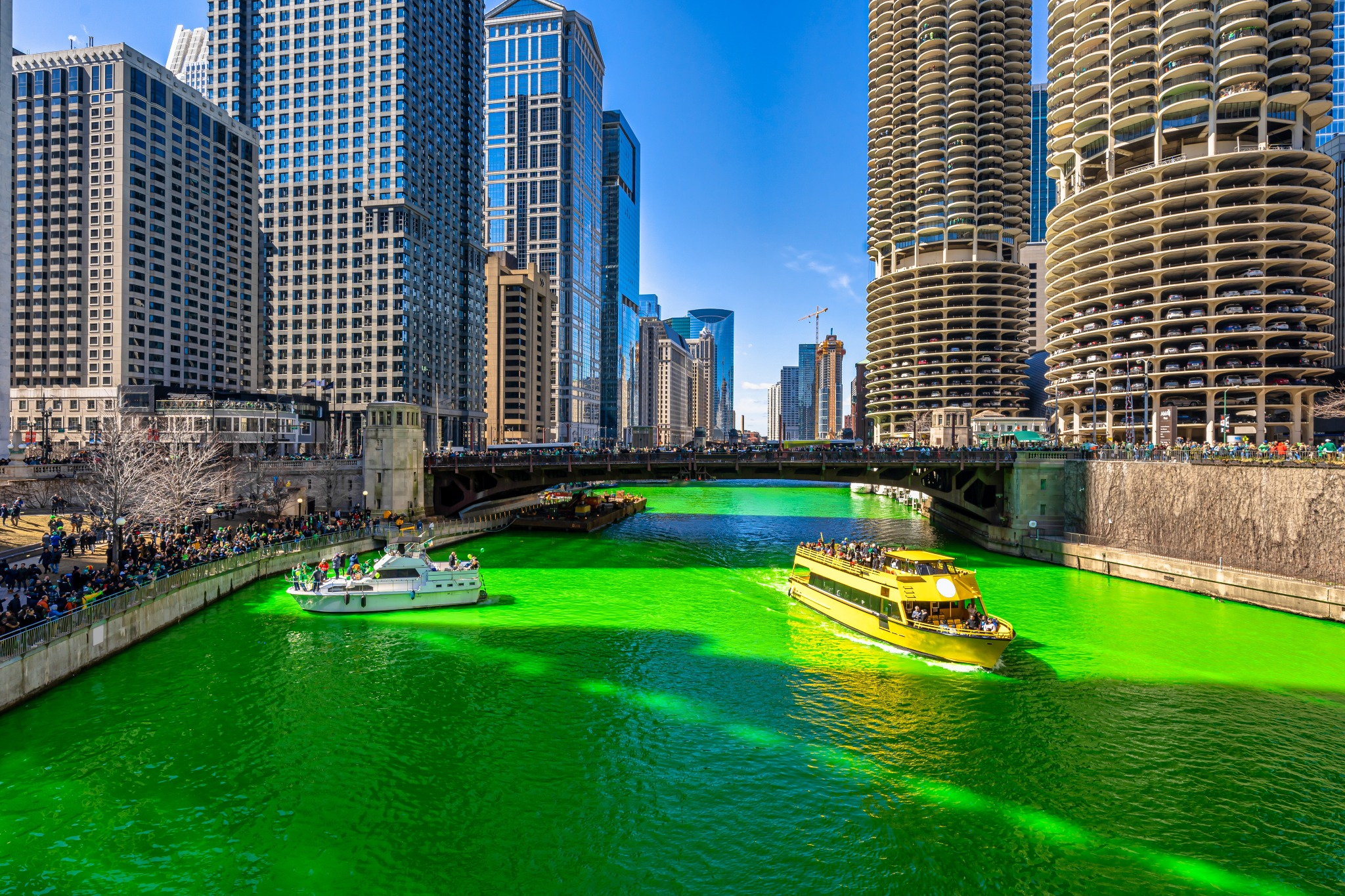 The Chicago river dyed green to celebrate St. Patrick's Day