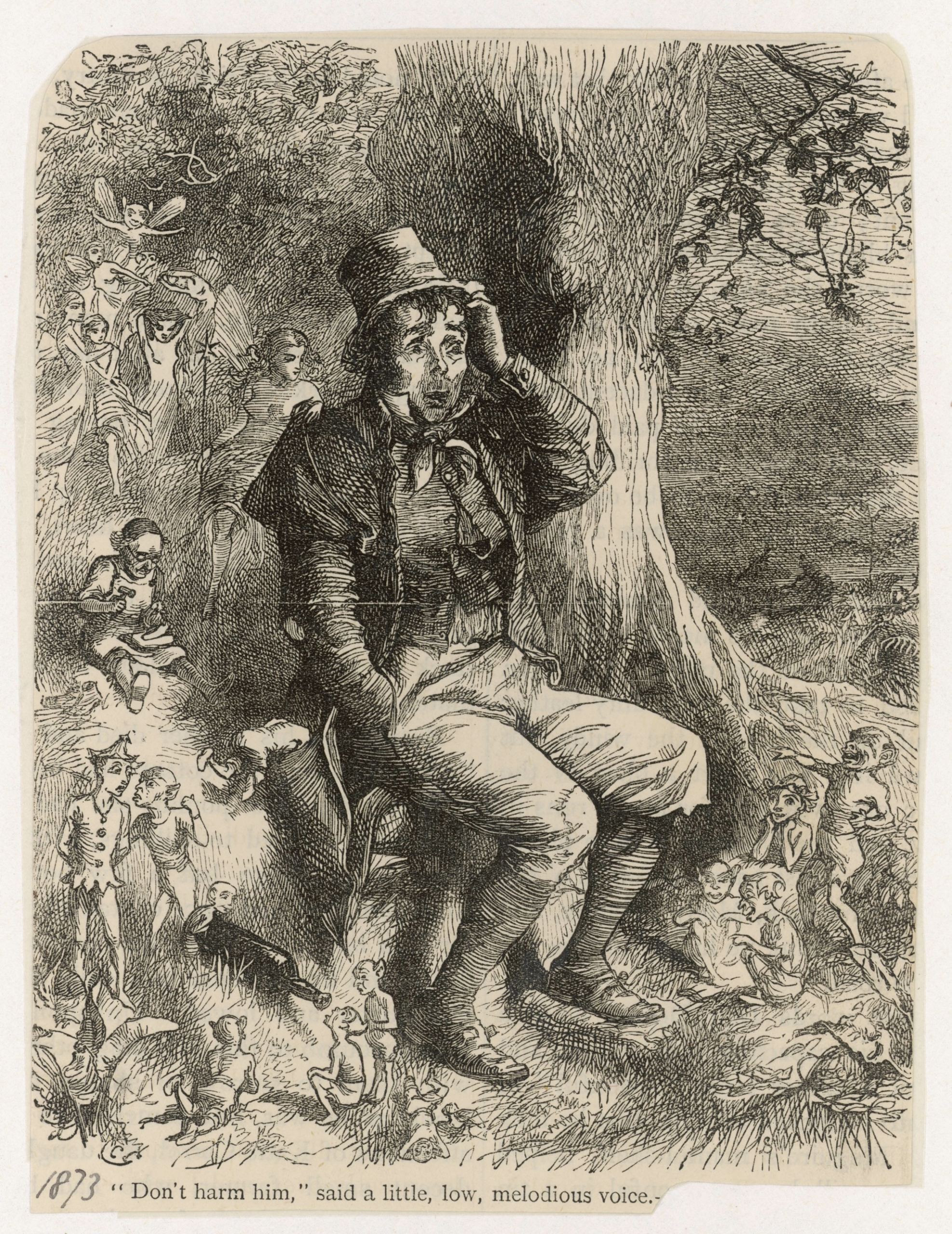 A drawing from 1873 depicting a man with leprechauns.