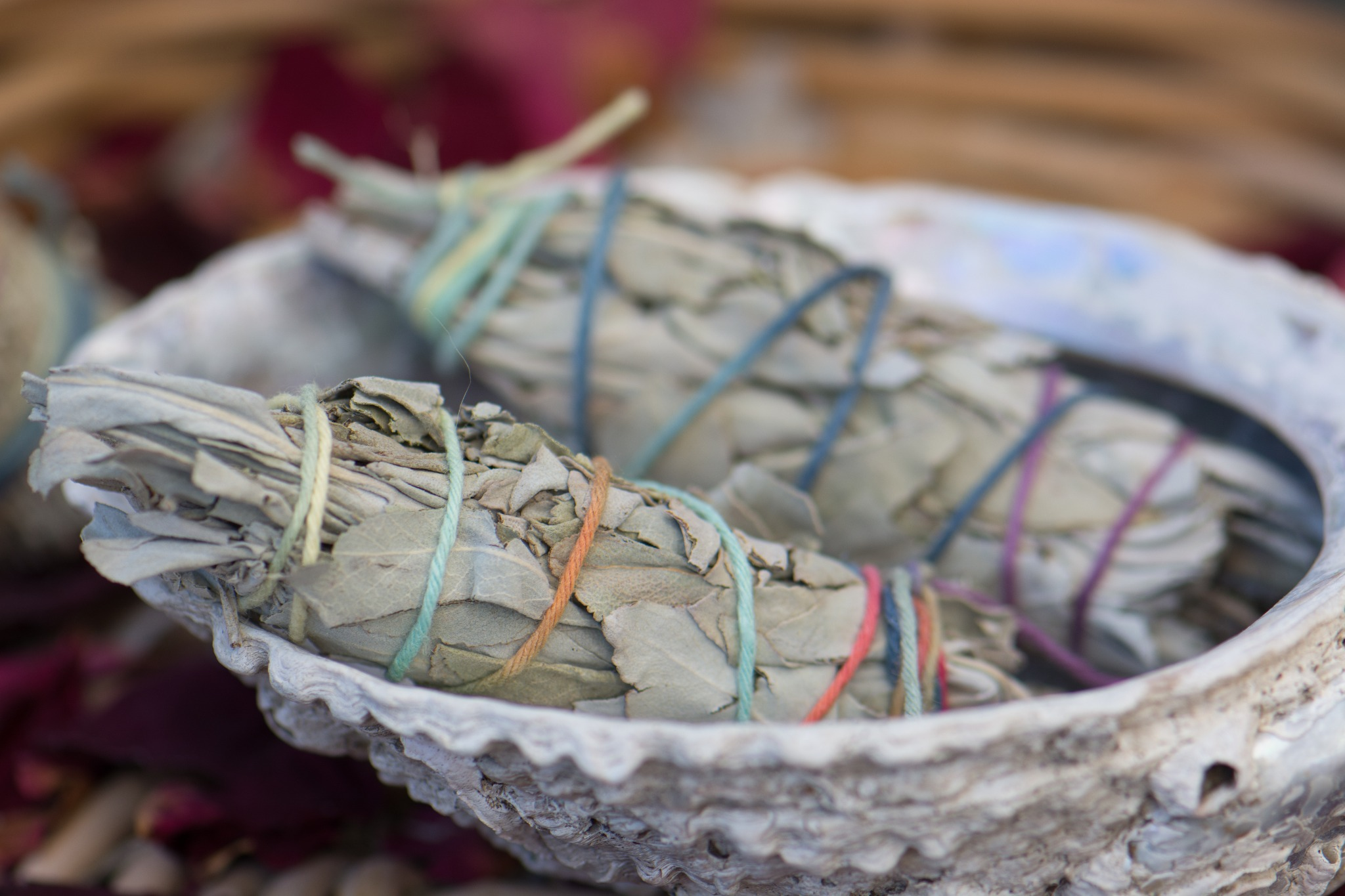 Sage bundles for smudging. Smudging is a great way to celebrate Beltane.