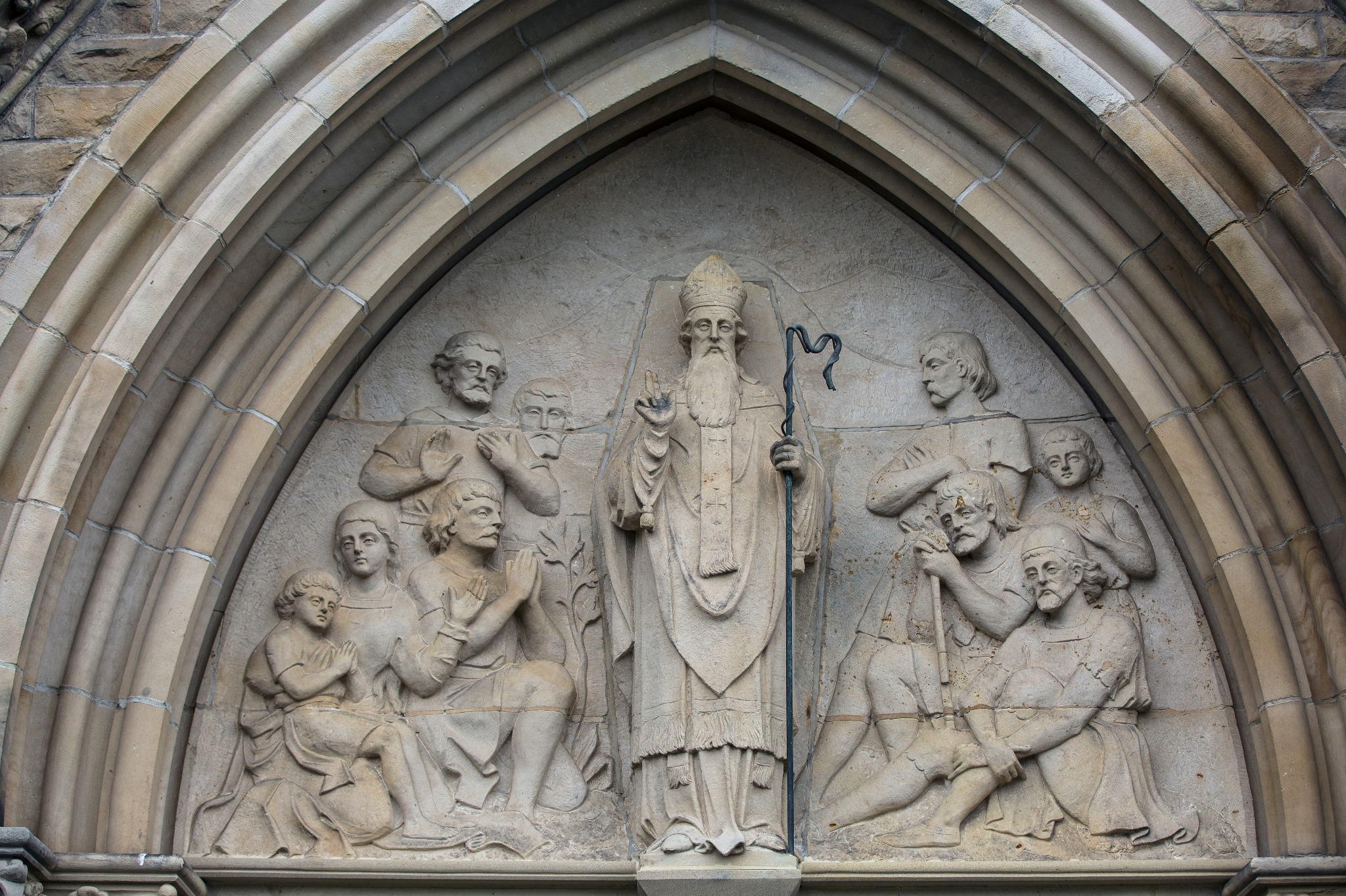 A statue of St. Patrick at a cathedral.